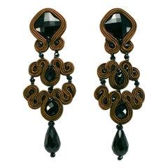 Musula Jet Black Gothic Wood  Soutache Earrings w/silver closure