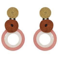 Musula LÉté Infini Le Vague Rose Soutache Earrings w/silver closure