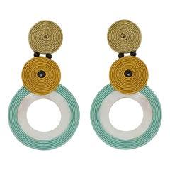 Musula LÉté Infini Le Vague Tourquoise Soutache Earrings w/silver closure