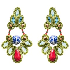 Musula Opulentia China Revolution Soutache Earrings silver hematites, porcelaine