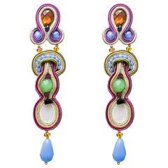 Musula Opulentia Cuba Libre Soutache Earrings silver motherofpearl & crystals