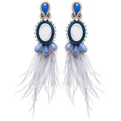 Musula Opulentia Havana Sky Soutache Earrings silver & Marabou