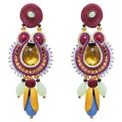 Musula Opulentia La Floridita Soutache Earrings silver & crystal beads
