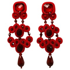 Musula Passion Rouge Soutache Earrings w/silver closure