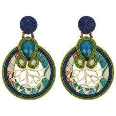 Musula Spring Bonsai Soutache Earrings w/silver closure