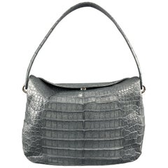 Muted Blue Grey Crocodile Skin Leather Top Handle Handbag