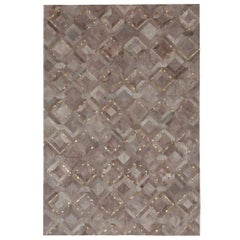 Muted Dyed Grey Customizable Mosaica Fog and Gold Cowhide Area Floor Rug Large