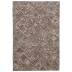 Muted Dyed Grey Customizable Mosaica Fog and Gold Cowhide Area Floor Rug Small