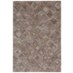 Muted Dyed Grey Customizable Mosaica Fog and Gold Cowhide Area Floor Rug X-Large