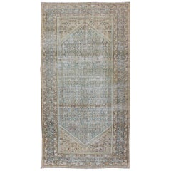 Muted Light Blue and L. Green Persian Gallery Malayer Rug with Geometric Design