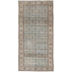 Muted Light Blue Persian Gallery Malayer Rug with Sub-Geometric Design