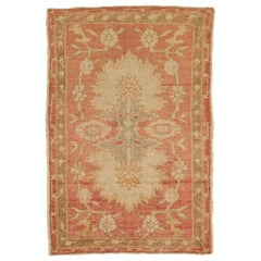 Muted Red Hand Knotted Wool Turkish Throw Scatter Size Decorative Rug