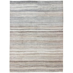 Muted Taupe and Gray Casual Modern Rug with Combination of Kilim/Piled