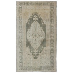 Muted Turkish Large Oushak with Medallion in Olive Green, Tan & Neutrals