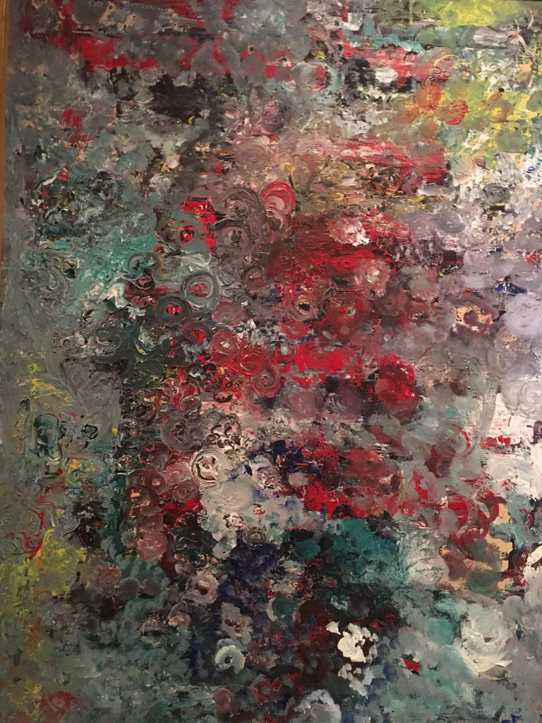 Muticolored Midcentury Abstract Painting by E. Frank In Good Condition For Sale In Palm Springs, CA