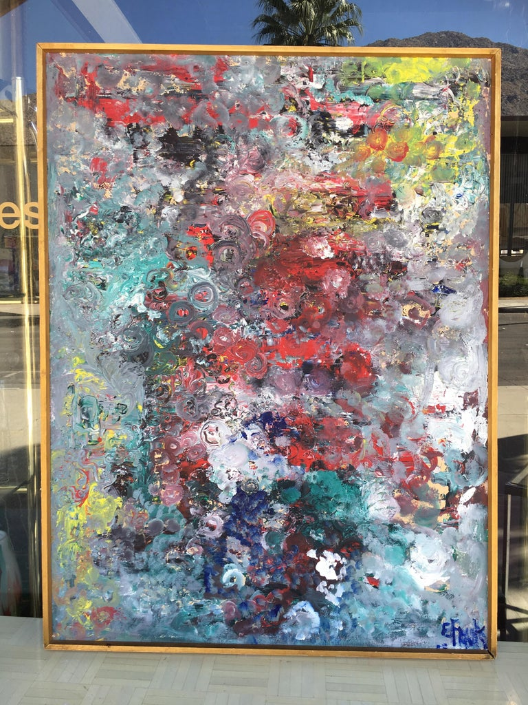 Wood Muticolored Midcentury Abstract Painting by E. Frank For Sale