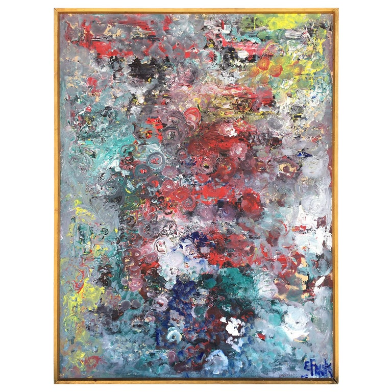 Muticolored Midcentury Abstract Painting by E. Frank For Sale