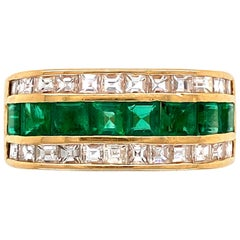 Muzo Emerald and Asscher Cut Diamond Gold Band Cocktail Ring Estate Fine Jewelry