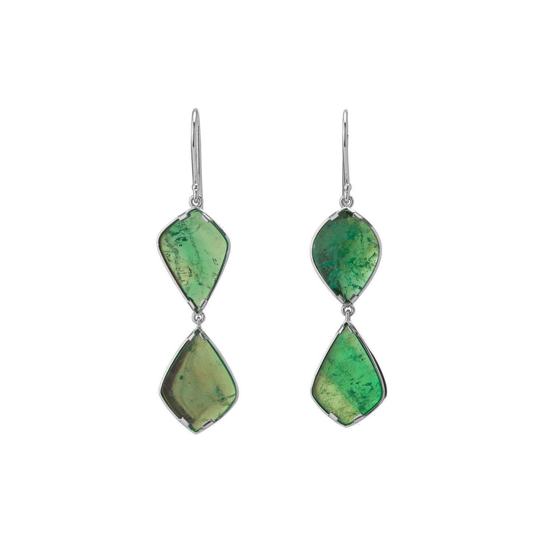 Muzo Emerald Colombia 18K White Gold Art Deco Style Drop Earrings