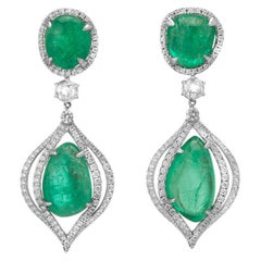 Muzo Emerald Colombia Diamonds 18K White Gold Drop Earrings