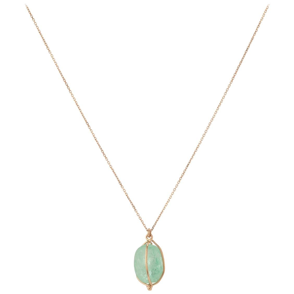 Muzo Emerald Colombia Emerald 18K Pink Gold Contemporary Drop Necklace