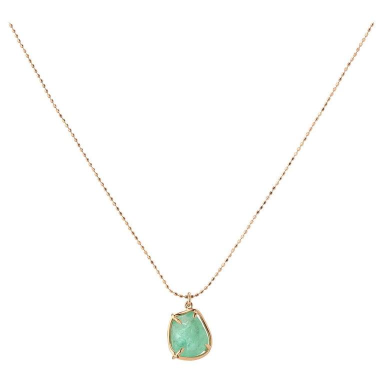 Muzo Emerald Colombia Emerald 18K Rose Gold Pendant Necklace For Sale