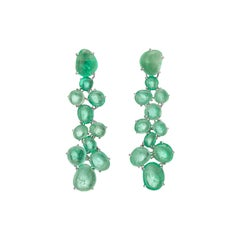 Muzo Emerald Colombia Emerald 18 Karat White Gold Chandelier Earrings