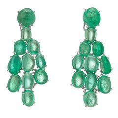 Muzo Emerald Colombia Emerald 18 Karat White Gold Chandelier Earrings