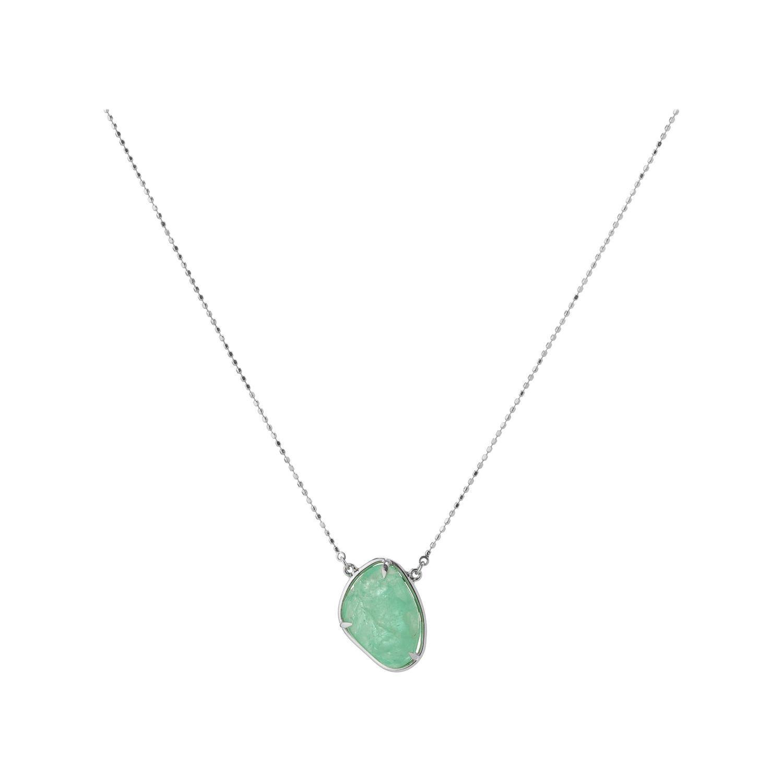 Muzo Emerald Colombia Emerald 18K White Gold Drop Necklace