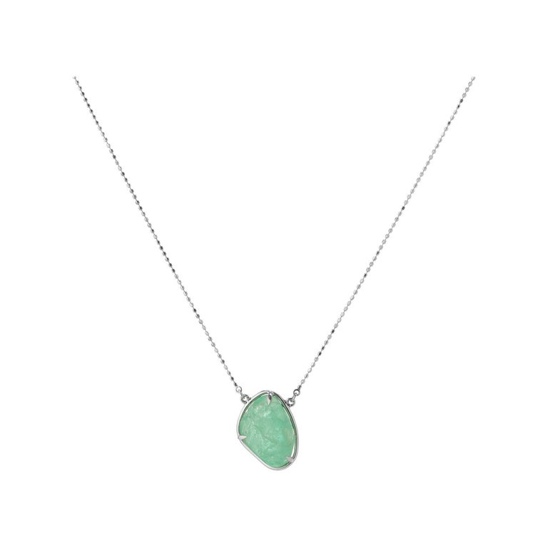 Muzo Emerald Colombia Emerald 18K White Gold Drop Necklace For Sale