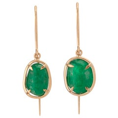 Muzo Emerald Colombia Emerald 18K Yellow Gold Dangle Earrings