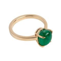 Muzo Emerald Colombia Emerald 18 Karat Yellow Gold Ring