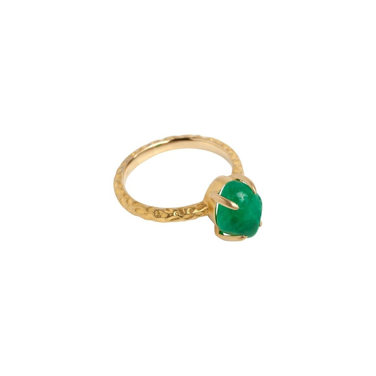 Muzo Emerald Colombia Emerald 18K Yellow Gold Cocktail Ring For Sale