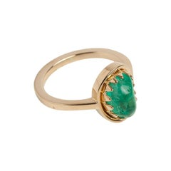 Muzo Emerald Colombia Emerald 18 Karat Yellow Gold Ring