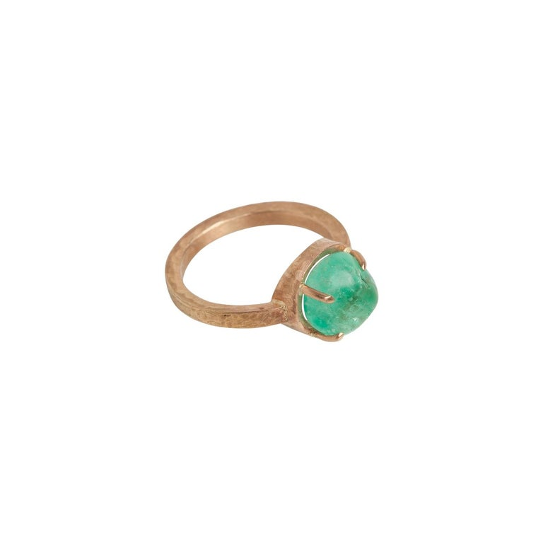 Muzo Emerald Colombia Emerald 18K Yellow Gold Ring For Sale