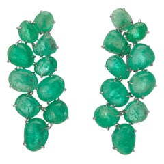 Muzo Emerald Colombia Emerald 18K White Gold Chandelier Earrings