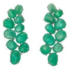 Muzo Emerald Colombia Emerald 18K White Gold Chandelier Earrings