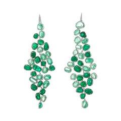 Muzo Emerald Colombia Diamonds Baroque Style Dangle Earrings 18K White Gold