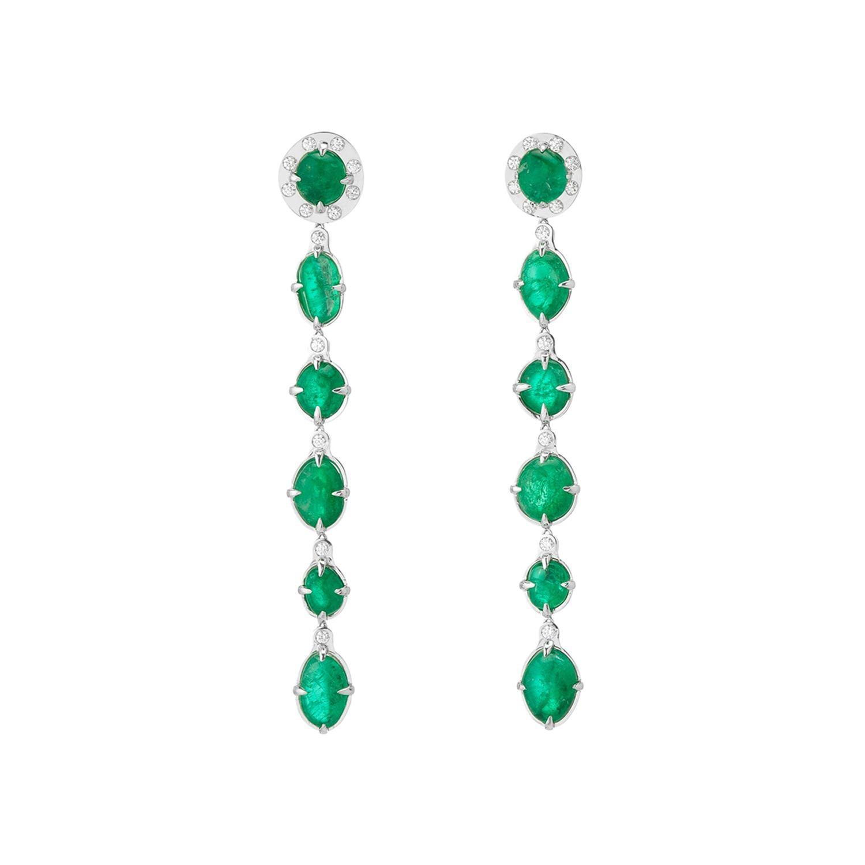 Muzo Emerald Colombia Classic Dangle Earrings Diamonds 18K White Gold