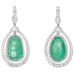 Muzo Emerald Colombia Single Halo Round Diamonds 18K White Gold Drop Earrings