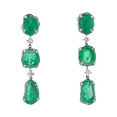 Muzo Emerald Colombia Diamonds 18K White Gold Claw set Drop Earrings