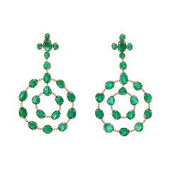 Statement Muzo Emerald Colombia Earrings Pave Diamonds 18K Yellow Gold