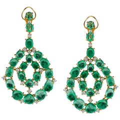 Muzo Emerald Colombia Diamonds 18K Yellow Gold Contemporary Chandelier Earrings