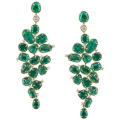 Baroque Style Dangle Earrings Muzo Emerald Colombia 18K Yellow Gold With Diamond