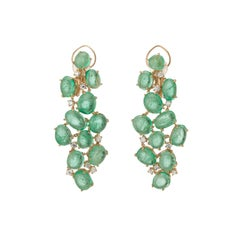 Muzo Emerald Colombia Diamonds 18K Yellow Gold Baroque Chandelier Earrings