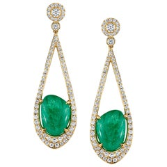 Muzo Emerald Colombia Emerald Diamonds 18K Yellow Gold Drop Earrings