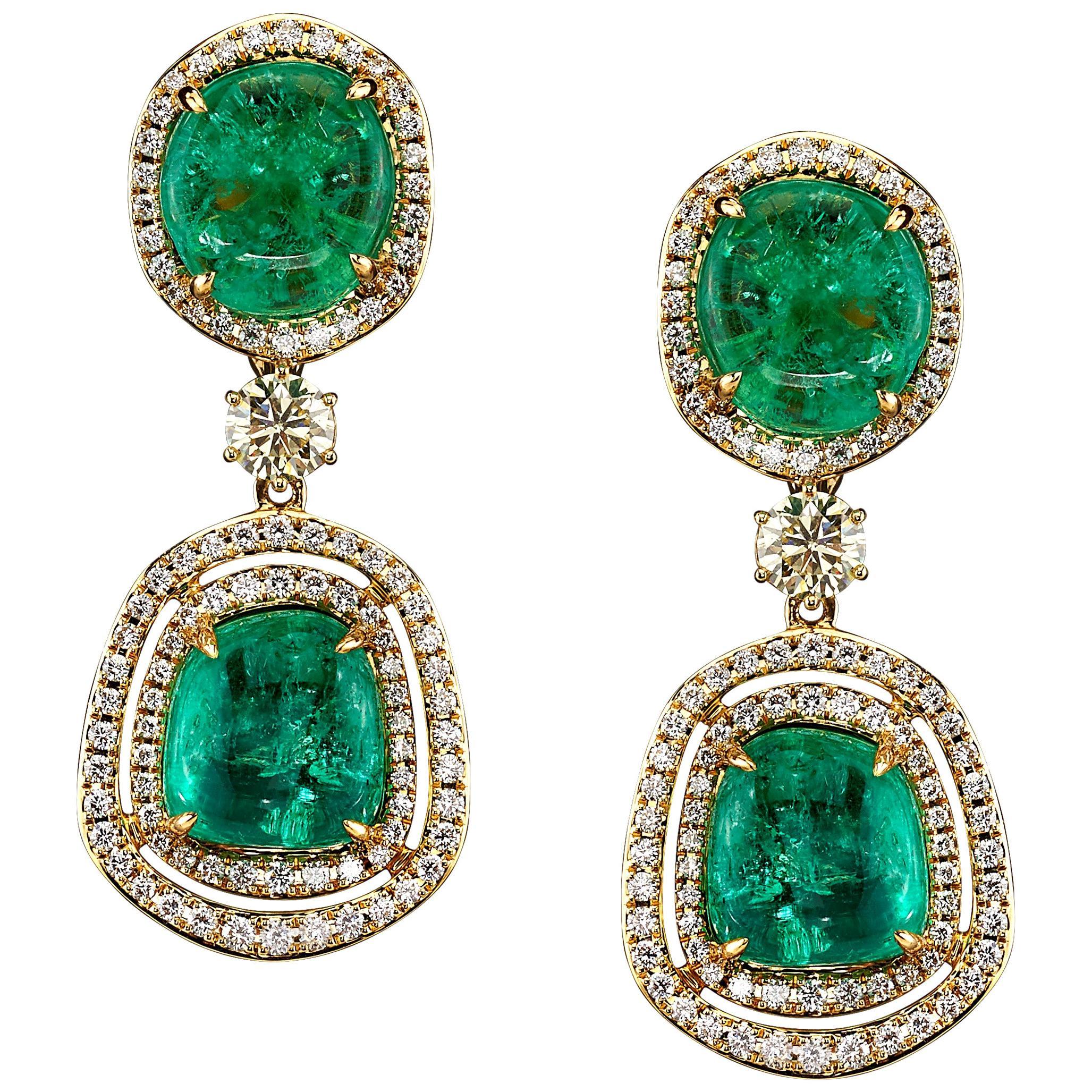 Muzo Emerald Colombia Diamonds Art Deco Style 18K Yellow Gold Dangle Earrings