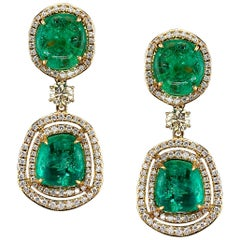 Muzo Emerald Colombia Diamonds Art Deco Style 18K Yellow Gold Dangle Earrings