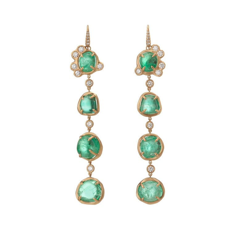 Muzo Emerald Colombia Emerald Diamonds 18K Yellow Gold Drop Earrings For Sale