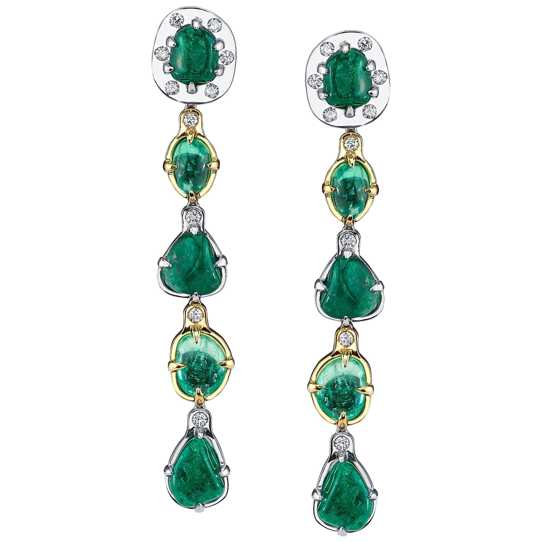 Muzo Emerald Colombia Emerald Diamonds 18K White and Yellow Gold Dangle Earrings